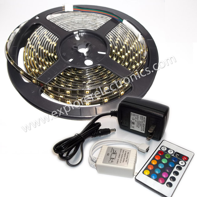 RGB LED Strip with Remote Control and Power Supply (ML3528/12/54/R.G.B/PU)